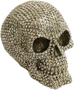 FABULOUS GOTHIC SILVER STUDDED SKULL FIGURE ORNAMENT +++ NEW