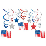 Patriotic Mega Value Pack Swirl Decorations (Each) - Party Supplies