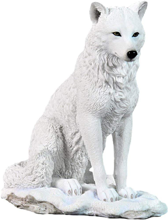 Beautiful White Ghost Wolf Figurine By Haysom Interiors