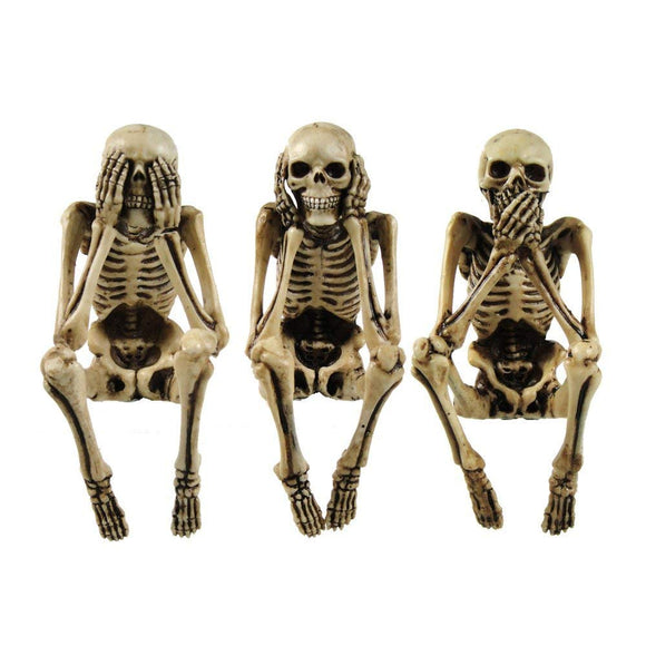 3 wise skeletons gothic shelf sitters ornament