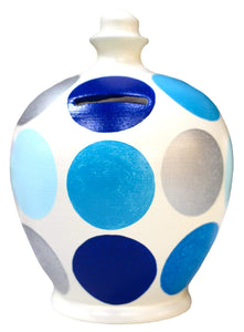 Terramundi Money Pot - White with Electric Blue, Pale Blue, Baby Blue and Silver Big Spots D46