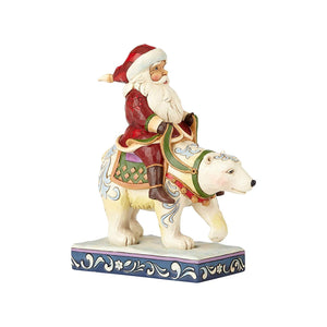 Enesco Jim Shore Heartwood Creek Santa Riding Polar Bear