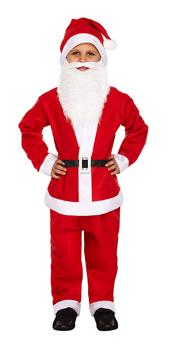 Child Boy 5 Piece Santa Costume Christmas - Medium Age 7-9 Years by Henbrandt