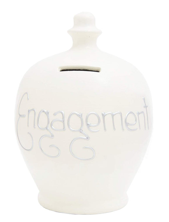 Terramundi Money Pot S39 - White with Silver Engagement