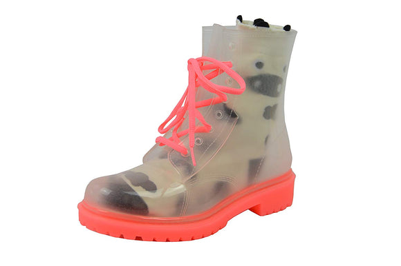 Jelly Jolly London Boots and Sock Bundle Pink Sole - Transparent Boots