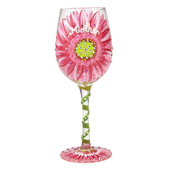 Mums Love In Bloom Wine Glass