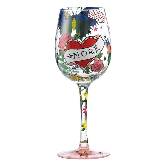 Enesco Lolita Glassware - Tattoo Amore Wine Glass - 22.5cm - GLS11-5522P