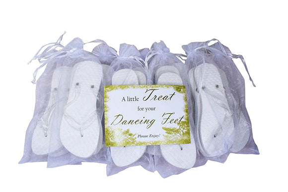 Modo White Heart Glitter Strap Flip Flop 10 Pack Bundle All in Organza Bags Ideal for Weddings