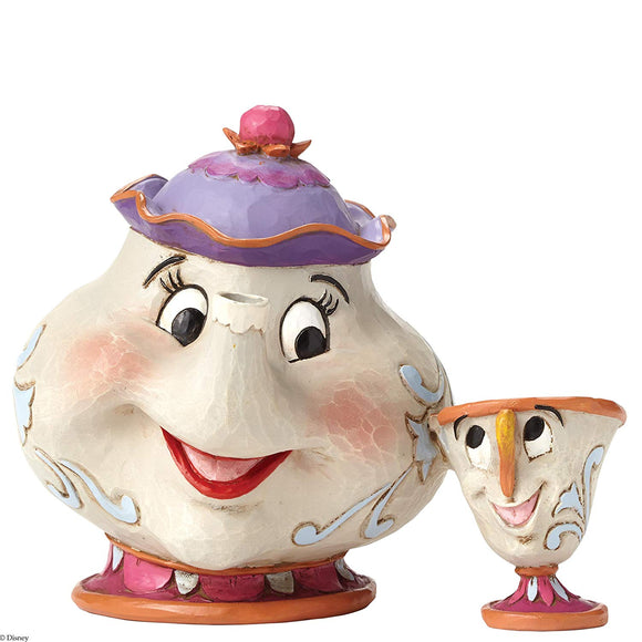 Enesco Disney Traditions by Jim Shore Beauty and the Beast Mrs. Potts and Chip Stone Resin Figurine, 4.15