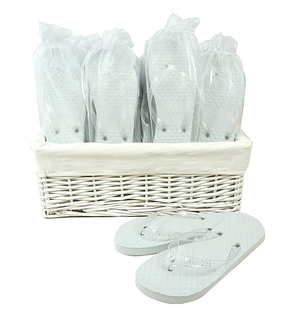 Wedding Party White Flip Flop Guest Gift Basket 20 pairs by MODO