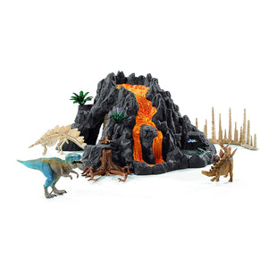 Schleich North America Giant Volcano with T-Rex Playset