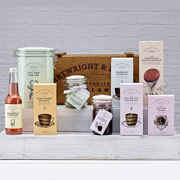Cartwright and Butler Bishopdale Luxury Sweet Treat and English Tea Hamper in a Vintage Wooden Crate. mother's Day, easter, Birthday Gift Idea