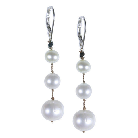 Medium White Pearl Floating Silk Earring