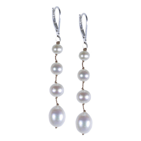 Long White Floating Pearl Silk Earring