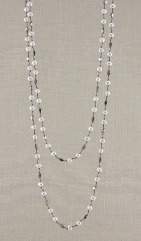 SMALL PEARL AND STERLING BEAD FLOATING NECKLACE-36