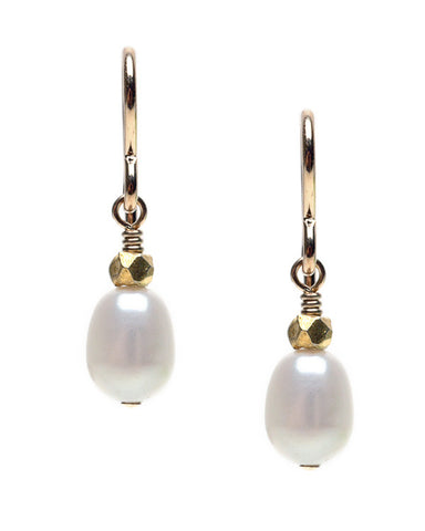 RICE PEARL WITH NUGGET ACCENT- HOOK EARRING