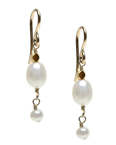 SMALL RICE PEARL WITH POTATO DANGLE- HOOK EARRING