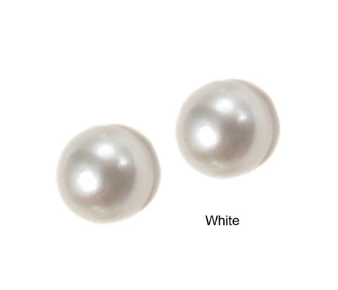 MEDIUM BUTTON PEARL STUD EARRING