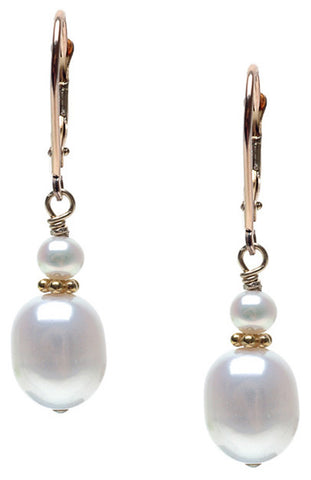 LARGE RICE PEARL WITH POTATO ACCENT EARRING