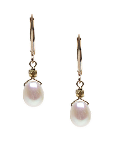 TOP DRILLED RICE PEARL WITH ACCENT- EARRING