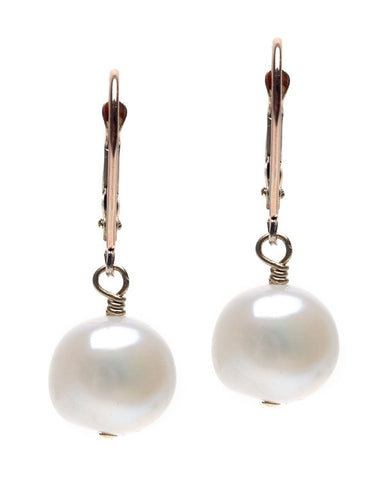 LARGE PLAIN POTATO PEARL DANGLE EARRING