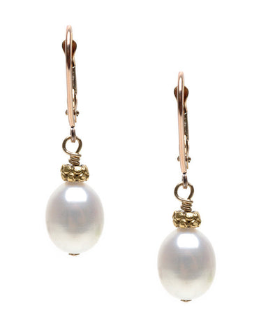 LARGE RICE PEARL WITH DISK EARRING