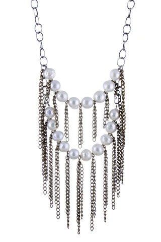 Layered Baroque Pearl and Fringe Necklace