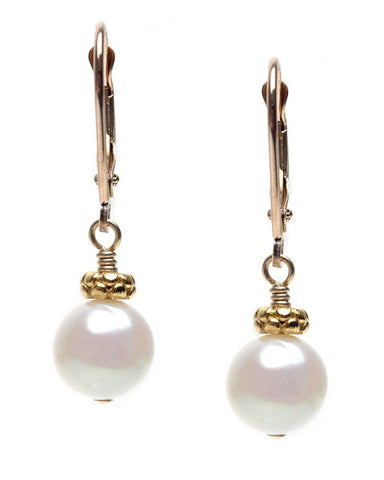 MEDIUM POTATO PEARL WITH DISK TOPPER EARRING
