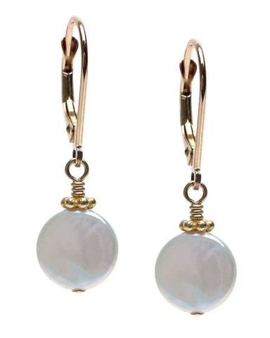 MEDIUM COIN PEARL EARRING