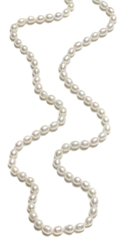 LARGE RICE PEARL ROPE NECKLACE-36