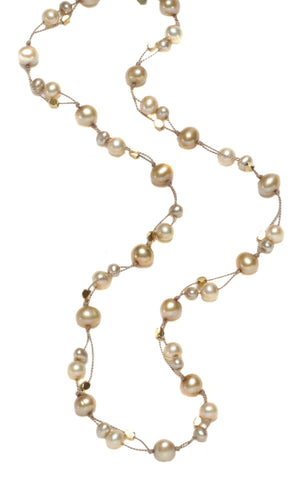 DOUBLE THREAD CHAMPAGNE PEARLS NECKLACE-16