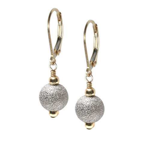 White Rhodium Plated Sterling Stardust Bead Earring