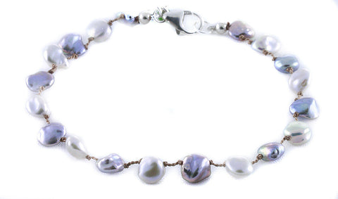 Silver and Gray Keshi Pearls on Silk Bracelet