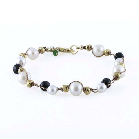 Doubled Thread Pearls with Black Onyx Bracelet