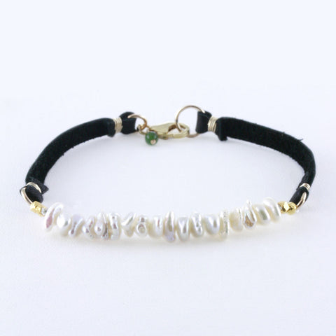 Double Strand White Sequin Pearls on Leather with Gold Bracelet