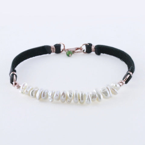 Double Strand White Sequin Pearls on Leather with Rose Gold Bracelet