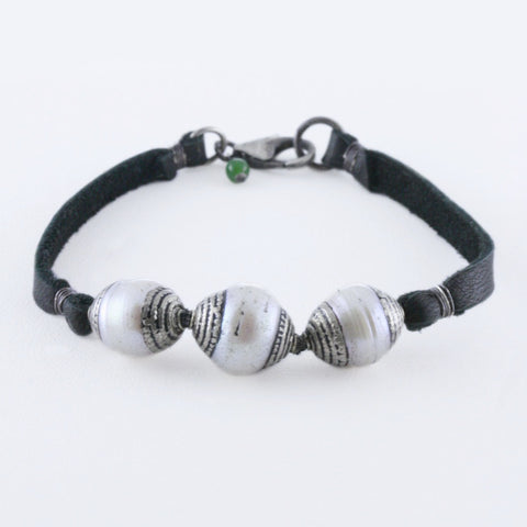 Tibetan Silver Capped Pearls on Leather Bracelet