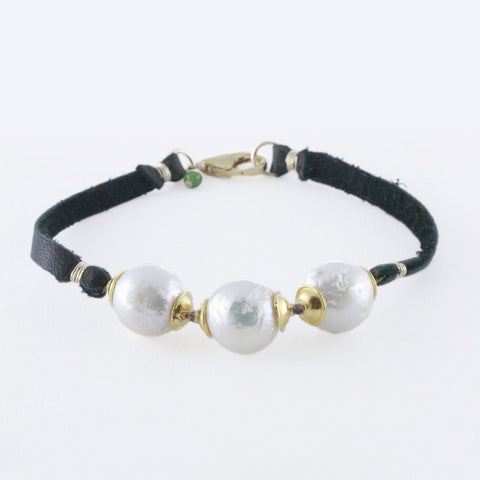 Large Baroque Freshwater Pearls with Vermeil Cap Details on Deerskin Leather Bracelet
