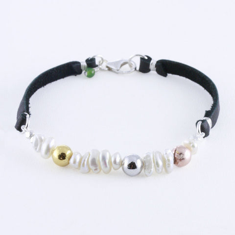 Sequin Pearls with Gold, Rose Gold, and Black Rhodium Plated Pyrite Bracelet