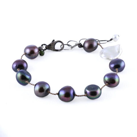 Black Nugget Pearls with Asymmetrically Placed Tablet Pearls Bracelet