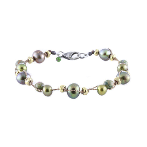 Double Threaded Olive Multi Pearls and Ryolite Knotted Bracelet
