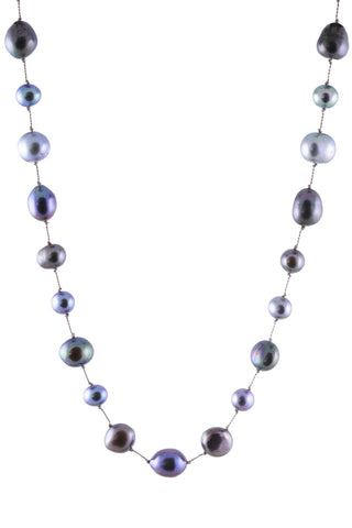 Dark Gray Multi Pearls Floating Necklace