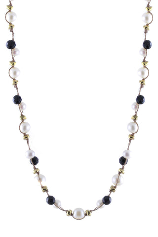 Double Thread Pearls with Black Onyx Necklace