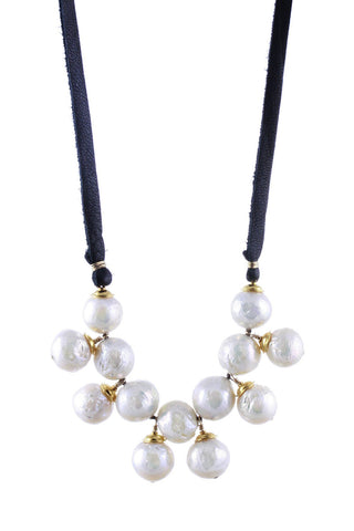 Baroque Pearls with Gold on Leather Necklace