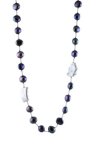 Black Nugget Pearls with Asymmetrically Placed Tablet Pearls Necklace