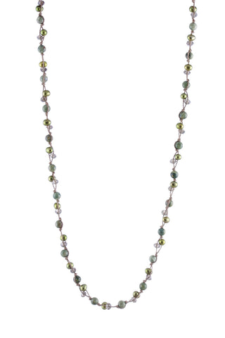 Small Double Threaded Olive Multi Pearls, Smoky Quartz, Ryolite Knotted Necklace