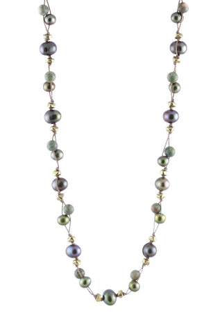 Double Threaded Olive Multi Pearls and Ryolite Knotted Necklace