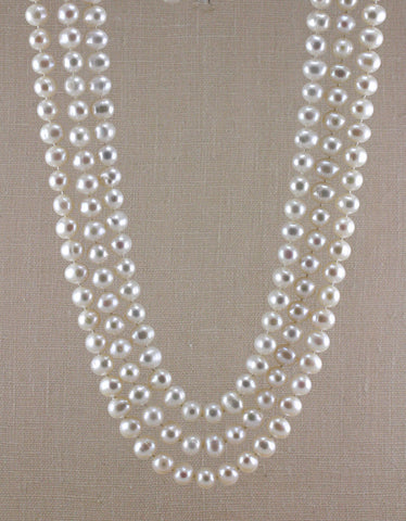 3-STRAND POTATO PEARL BIB NECKLACE