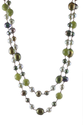 Long Olive Multi Pearls and Olive Jade Floating Necklace