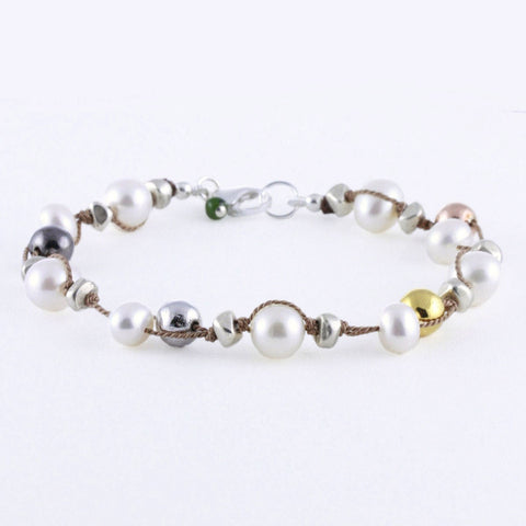 Doubled Thread Pearls with Plated Pyrite Bracelet